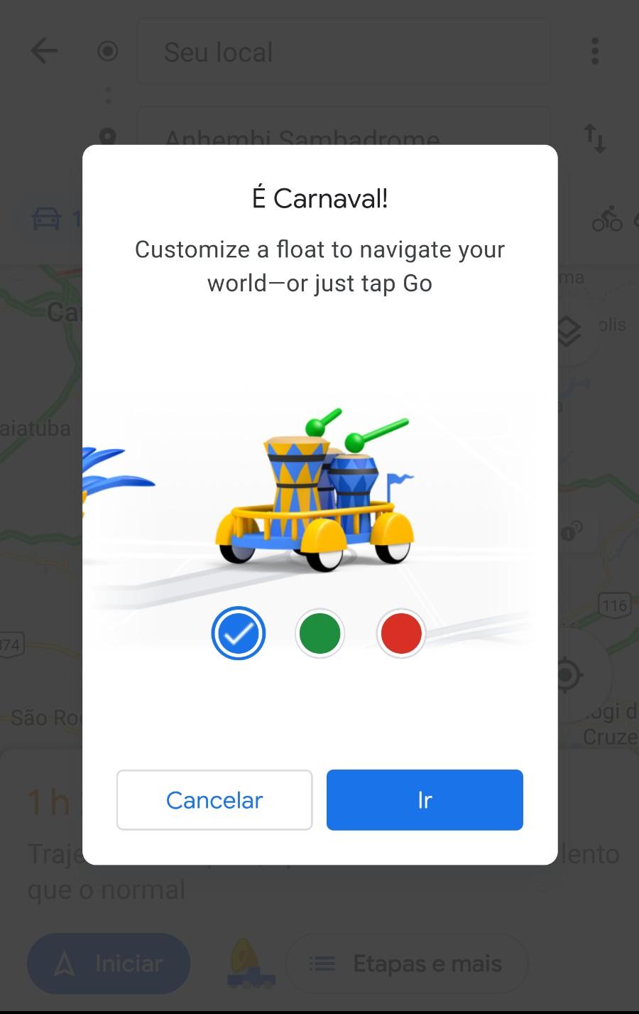 Os usuários poderão personalizar o ícone de navegação do Google Maps durante o Carnaval (Foto: Divulgação/Google)