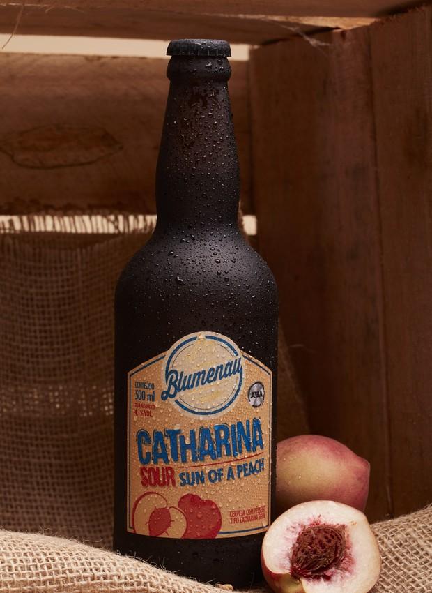Cerveja Sun of Peach, da Cerveja Blumenau. A primeira bebida no estilo Catharina Sour a ser comercializada (Foto: Divulgação)
