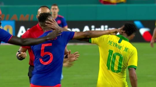 Pênalti não marcado e troca de farpas no fim: o tenso reencontro de Neymar com a Colômbia