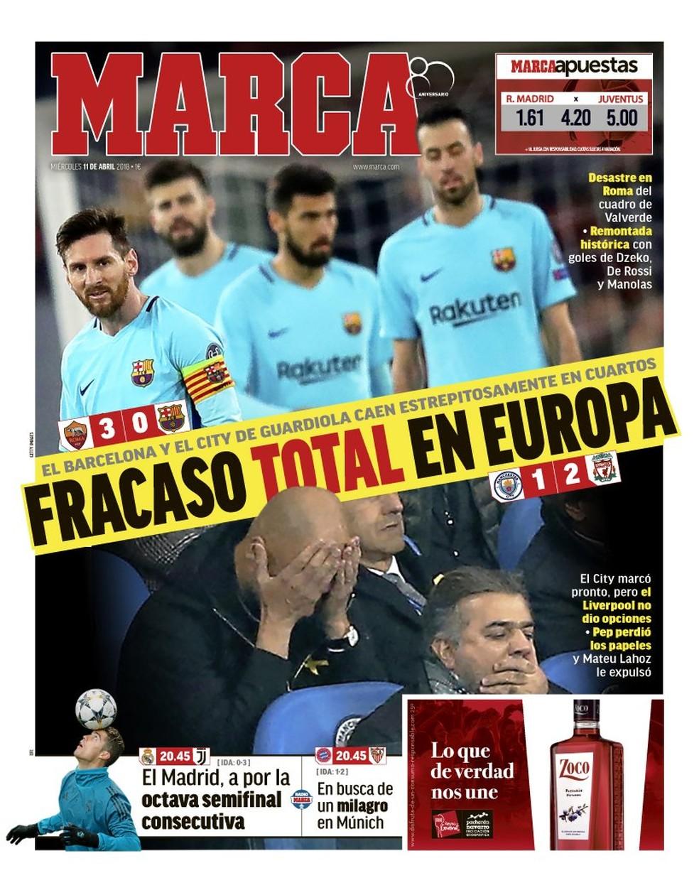 Capa jornal Marca Eliminação Barcelona (Foto: Reprodução)