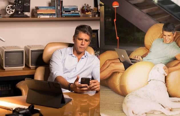 Marcio Garcia, que também tem uma produtora e é diretor, trabalhou de casa e ajudou os filhos nas aulas on-line: 'Bem intenso' (Foto: Reprodução)