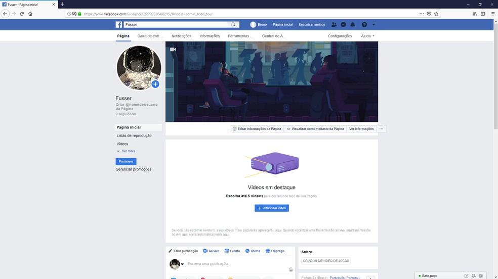 Tela inicial após a criação da página de 'Criador de vídeo jogo' para transmissões ao vivo — Foto: Reprodução/Bruno Martins