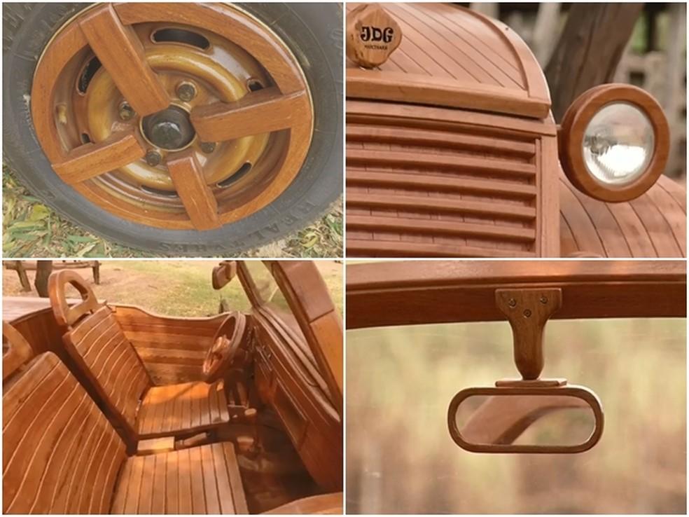 Detalhes do fusca conversível construído por marceneiro em Santa Fé do Sul  — Foto: Reprodução/TV TEM