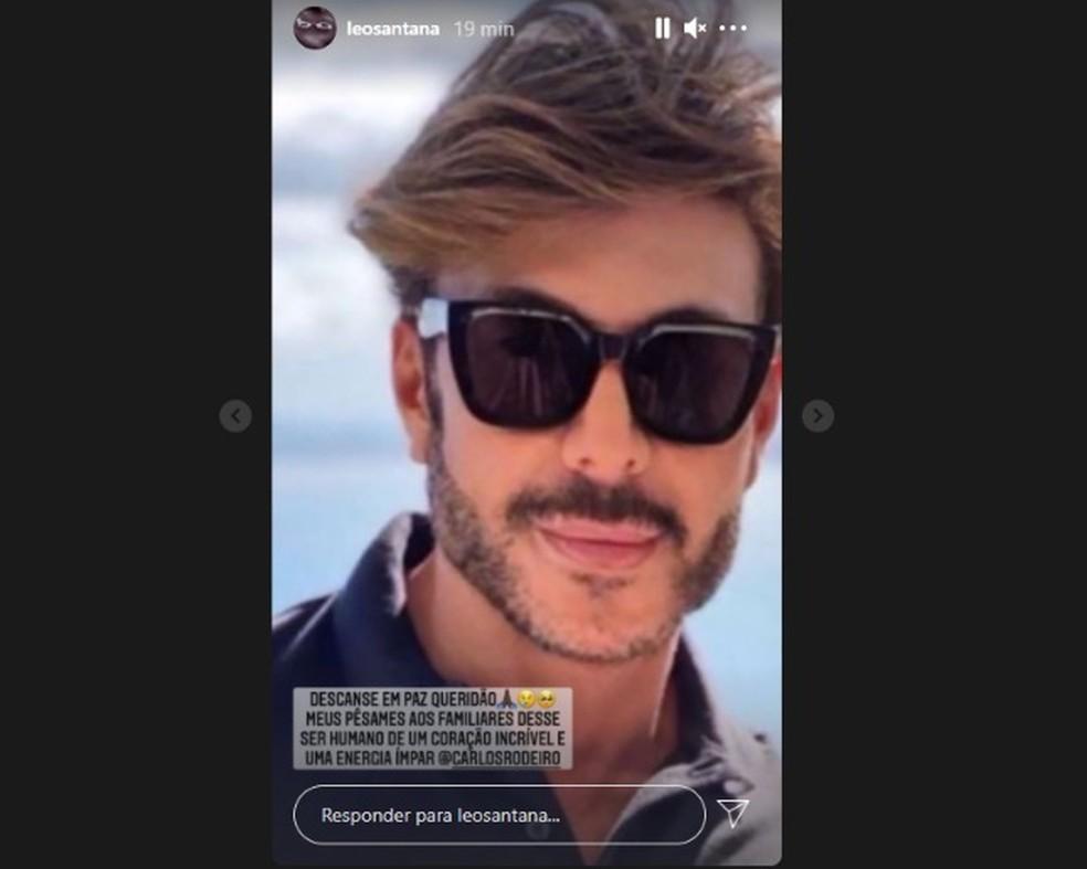 O cantor Léo Santana lamentou a morte de Carlos Rodeiro nas redes sociais. — Foto: Reprodução / Redes Sociais