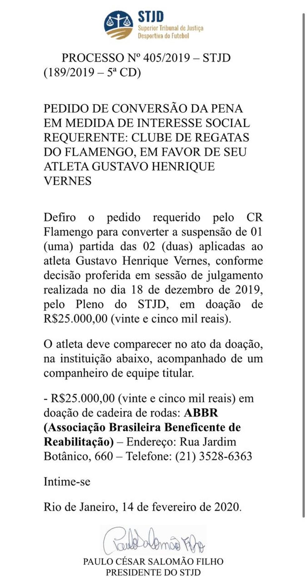 STJD emite documento que oficializa a conversão da pena de Gustavo Henrique — Foto: Reprodução