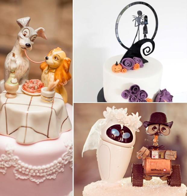 Topo de bolo de casamento: Personagens de desenhos animados (Foto: Pinterest/Reprodução)