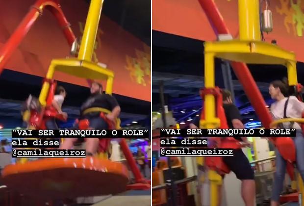 Camila Queiroz e Felipe Hintze brincam em parque de diversões (Foto: Reprodução/Instagram)