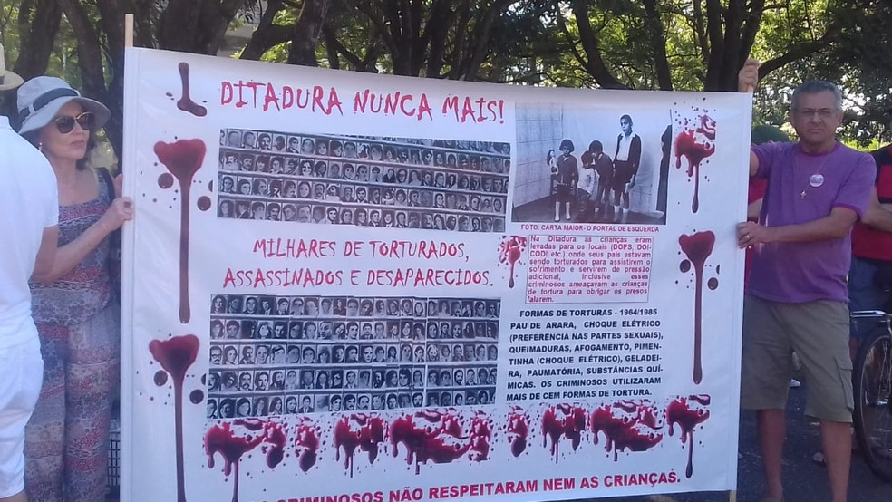 Pessoas levaram cartazes contra a ditadura em ato no Eixão Norte — Foto: Maria Nazaré Queiroz/Divulgação