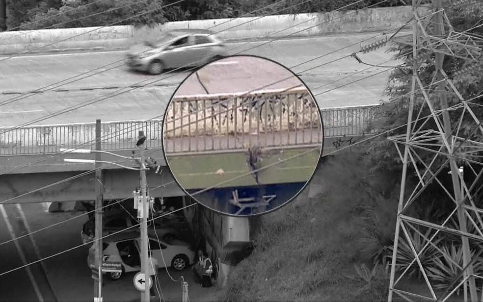 Ponte Cidade Universitária apresenta rachaduras em sua estrutura — Foto: TV Globo/Reprodução