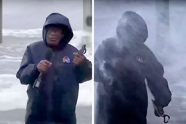 67-year-old reporter Al Rocker is hit by the waves caused by Hurricane Ida (Photo: YouTube Reproduction)