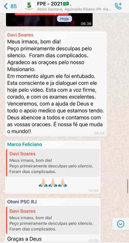 Mensagem enviada por David Soares (DEM-SP), filho do pastor evangélico R.R. Soares, em grupo de evangélicos da Câmara