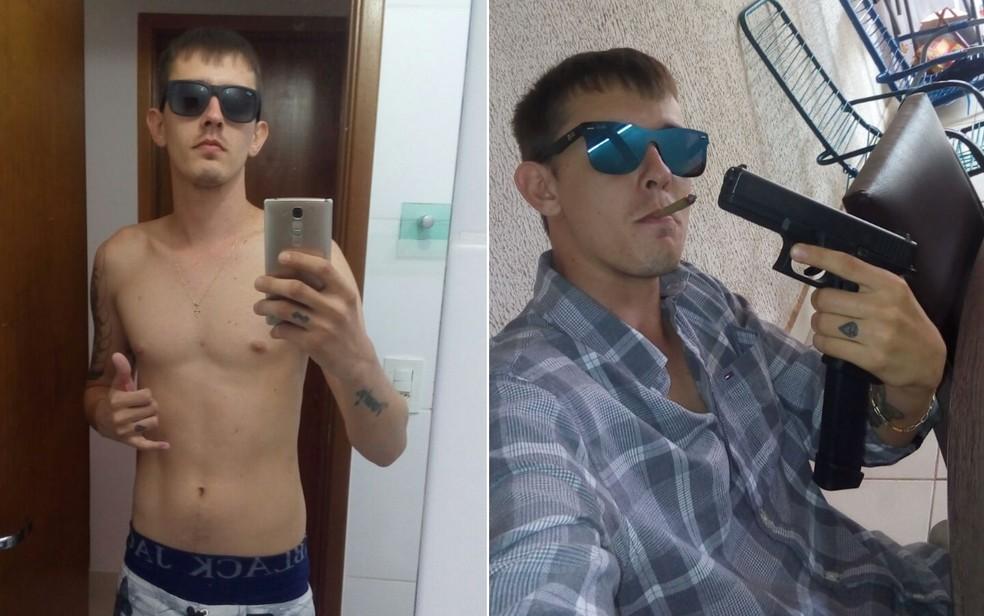 Erick Rennistawber Urbano Vieira, um dos mortos no confronto, ostentava armas nas redes sociais (Foto: Polícia Militar/Divulgação)