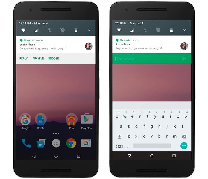 Android N terá sistema para responder mensagens rapidamente, a partir da notificação (Foto: Divulgação/Google)