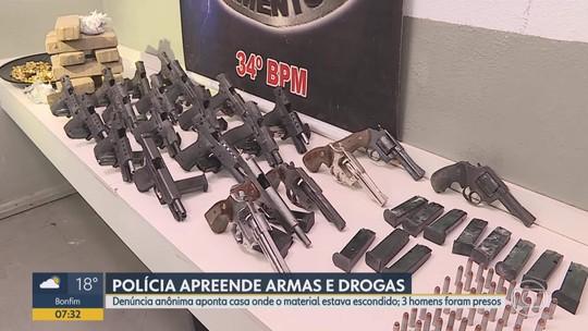 Polícia Militar apreende armas e drogas em Ibirité, na Grande BH