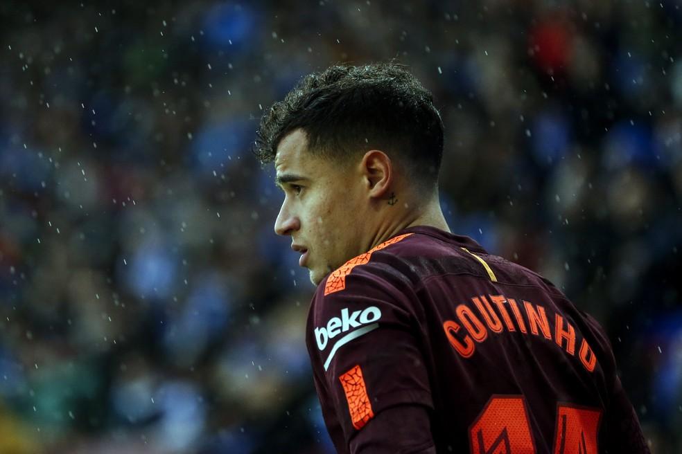 Philippe Coutinho, durante o jogo entre Barcelona e Espanyol (Foto: Pau Barrena/AFP)