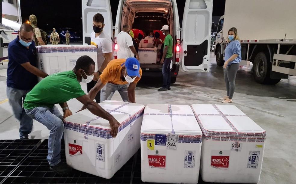 Carga com doses da vacina desembarcou no Aeroporto Internacional de Salvador — Foto: Divulgação/Sesab