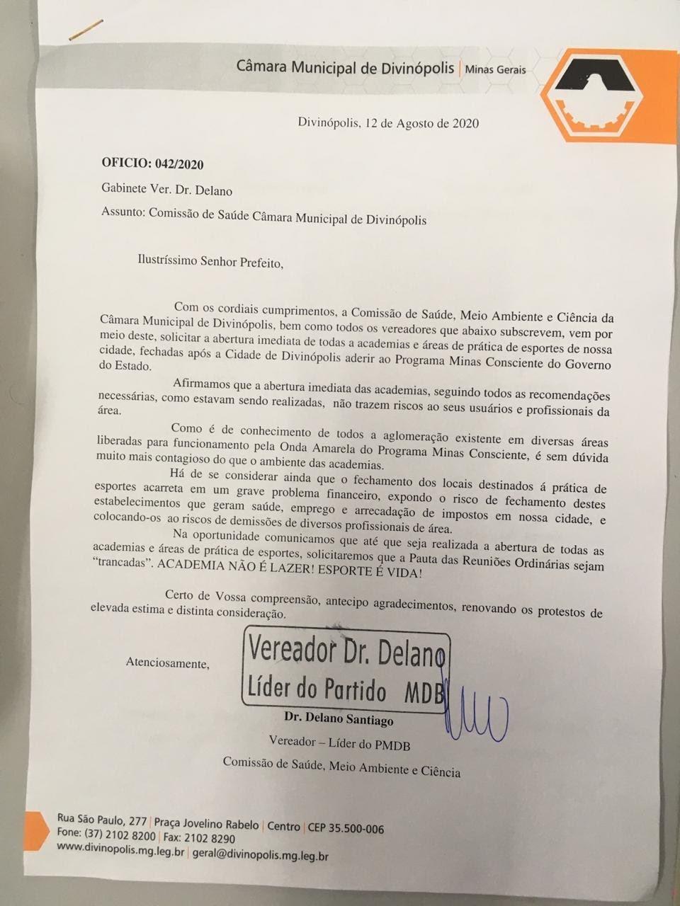 Comissão de Saúde da Câmara emite ofício que solicita 'tranca' na pauta das reuniões ordinárias até reabertura de academias em Divinópolis