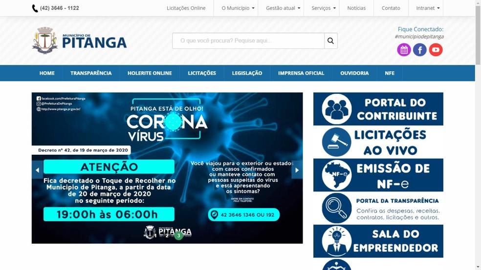 Comunicado do toque de recolher foi publicado no site da Prefeitura de Pitanga — Foto: Reprodução
