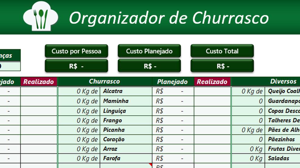 Organize um churrasco com valores de ingredientes e preço por cabeça no Excel (Foto: Reprodução/Paulo Alves)