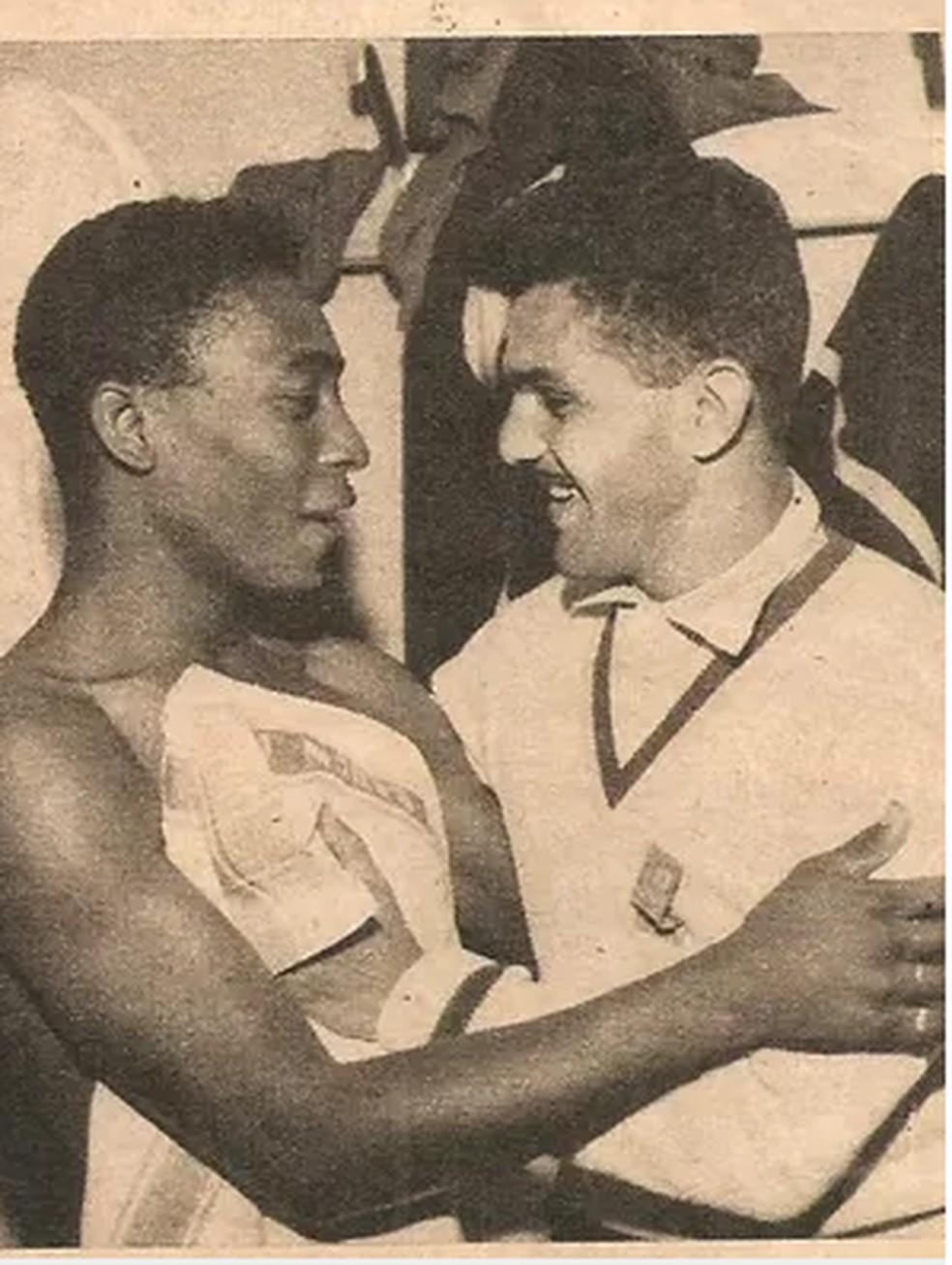 Pelé e Dida na Copa de 1958 — Foto: Arquivo Museu dos Esportes