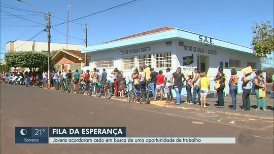 Centenas de pessoas enfrentam fila e sol quente em busca de vaga de emprego em Morro Agudo, SP
