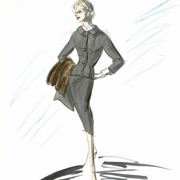 Croqui de figurino para personagem de Kim Novak no filme Um corpo que cai(1958), de Alfred Hitchcock (Foto:  Edith Head Papers, Biblioteca Margaret Herrick, AMPAS)