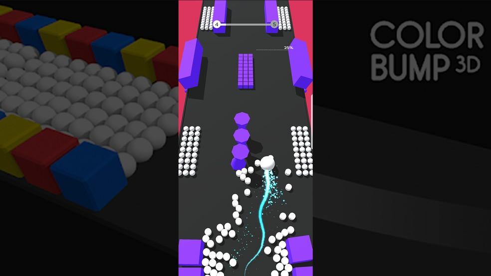Use movimentos leves para passar pelos obstáculos de Color Bump 3D — Foto: Reprodução/Murilo Molina