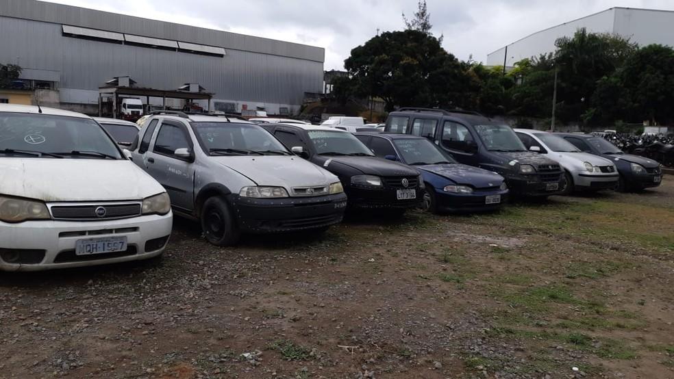 Veículos que estão retidos no pátio da PRF no ES — Foto: Divulgação/PRF-ES