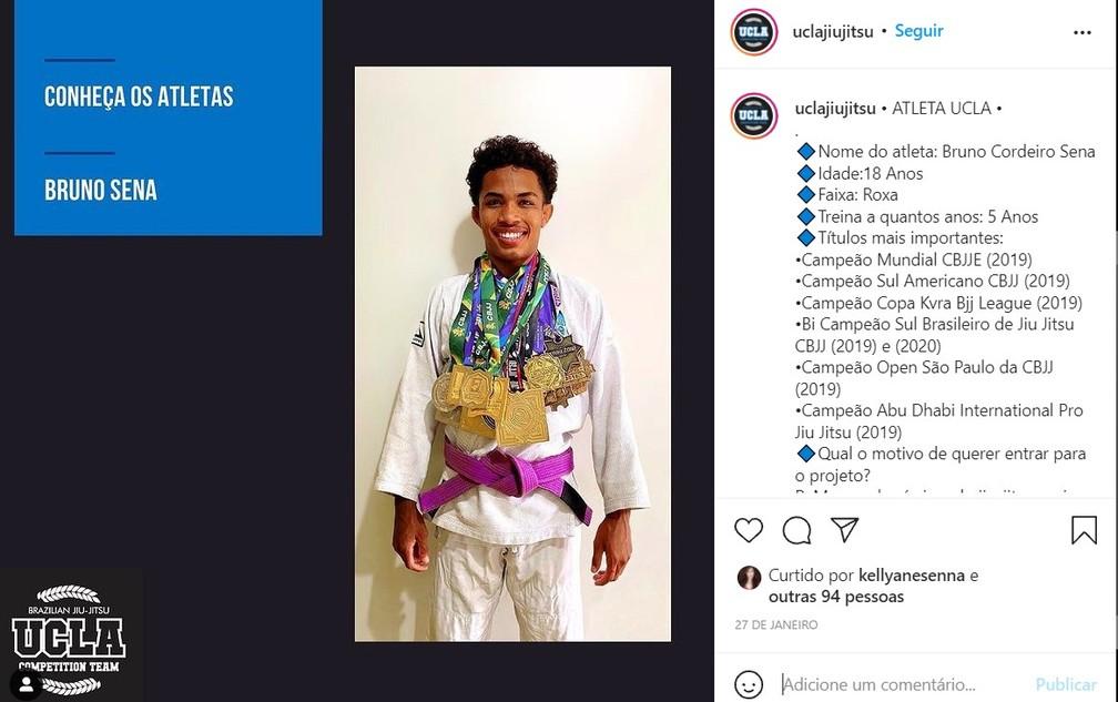 Perfil e títulos de Bruno Sena na rede social da UCLA  — Foto: UCLA/Rede Social