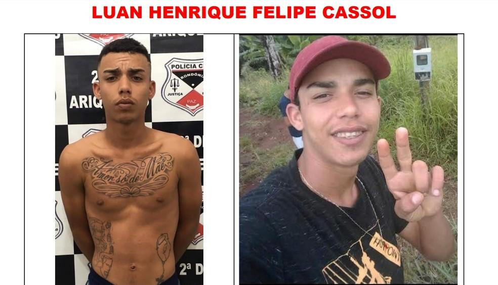 Luan Henrique Felipe Cassol é procurado após fugir de presídio em Ariquemes — Foto: Reprodução
