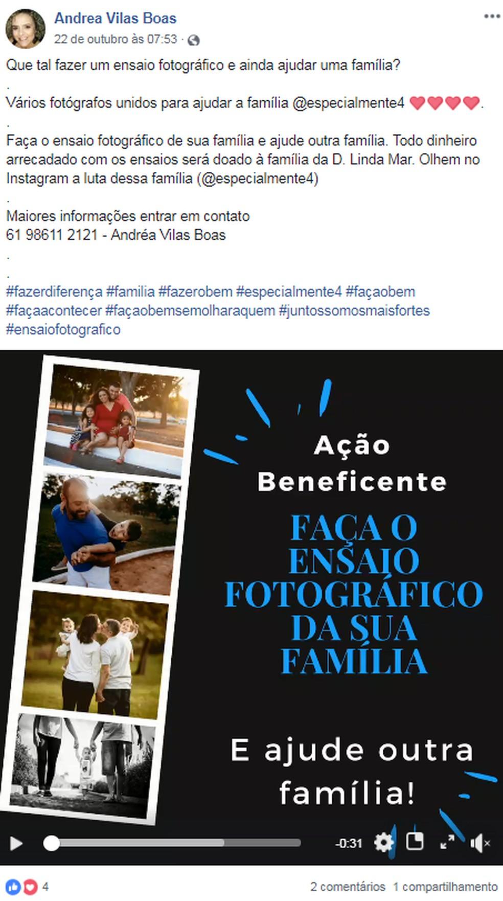 A fotógrafa Andrea Vilasboas, do Distrito Federal, divulgou uma campanha para ajudar família de quadrigêmeos com deficiência cerebral — Foto: Facebook/Reprodução