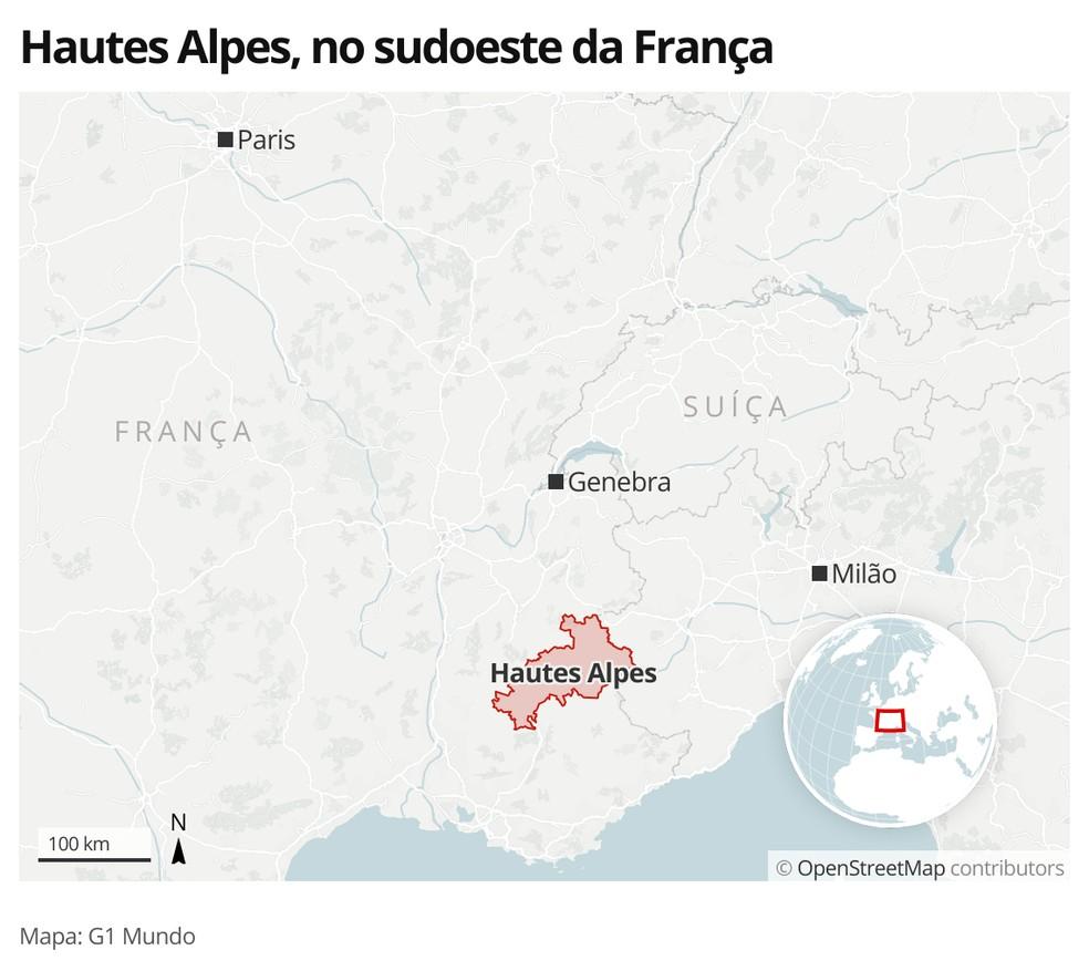 Mapa identifica o departamento de Hautes Alpes, no sudoeste da França — Foto: G1 Mundo