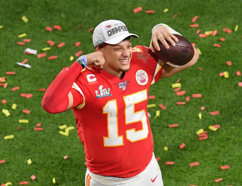 Patrick Mahomes campeão Super Bowl com o Kansas City Chiefs — Foto: Steve Mitchell-USA TODAY Sports