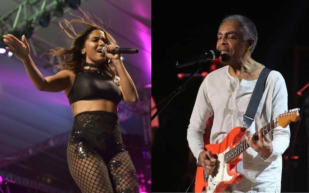Anitta e Gilberto Gil são atrações de festival gratuito em Salvador, em dezembro (Foto: Montagem/ G1)