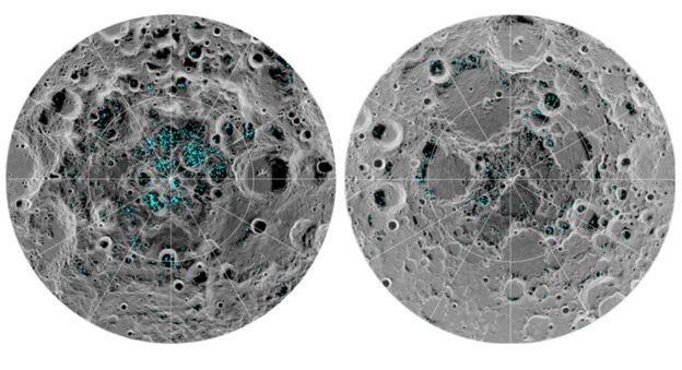 Imagem considerada a comprovação de que gelo foi encontrado nos polos norte e sul da Lua (Foto: NASA/Via BBC NEws Brasil)