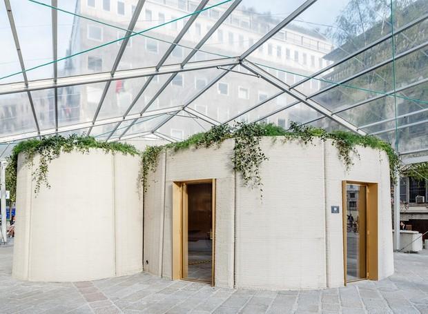 Casa de 100 m² feita por meio de uma impressora 3D, em apenas uma semana (Foto: Deezen/ Reprodução)