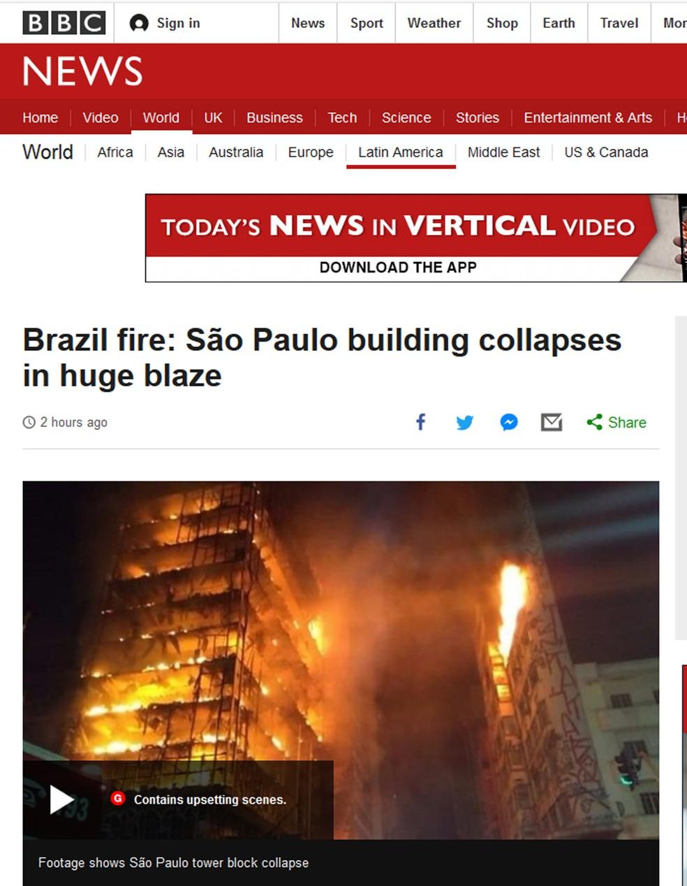 'Incêncio no Brasil: prédio em São Paulo desmorona com enormes chamas (Foto: Reprodução/BBC)