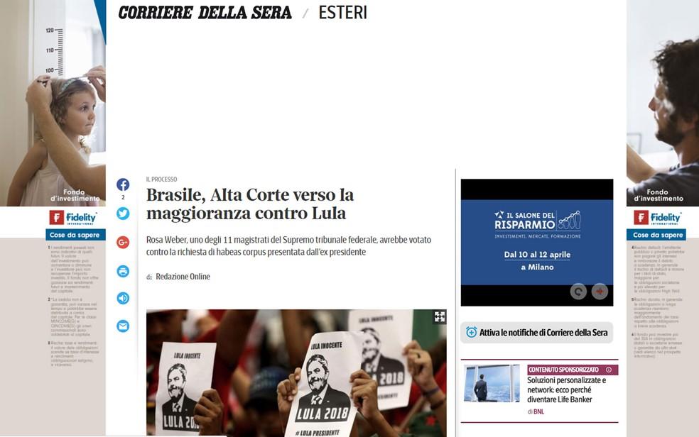 Italiano 'Corriere Della Sera' publicou matéria após o voto da magistrada Rosa Weber (Foto: Reprodução/Corriere Della Sera)