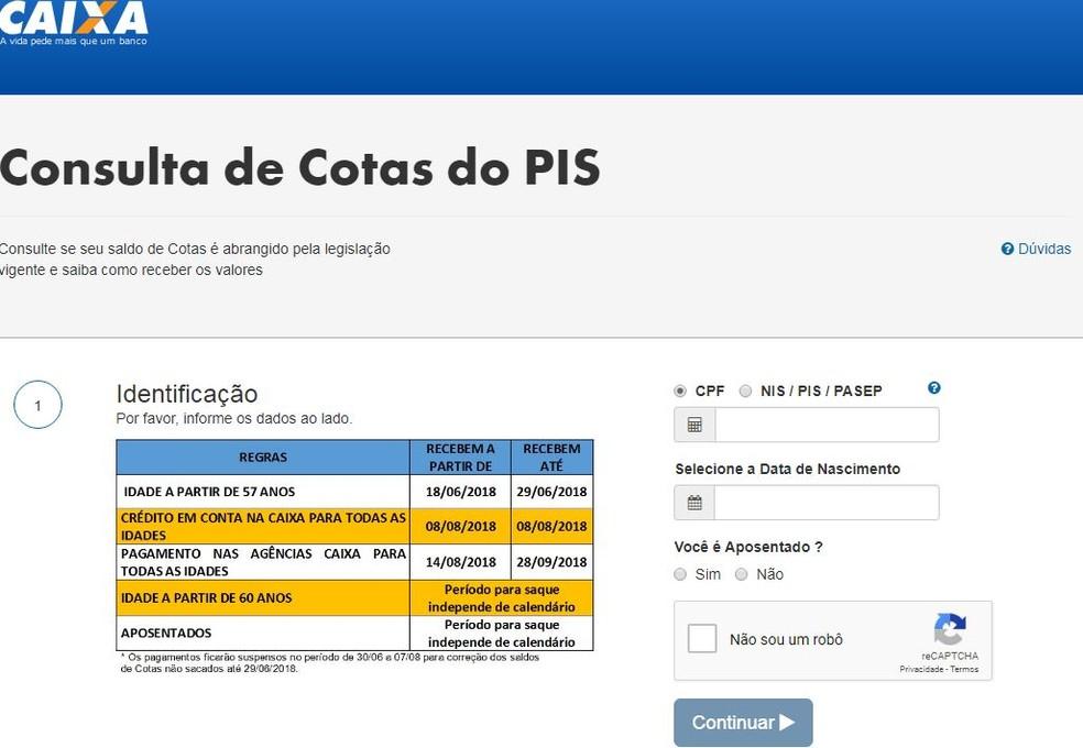 Tela do site da Caixa na qual é preciso colocar os dados pessoais para acessar o saldo do PIS — Foto: Reprodução