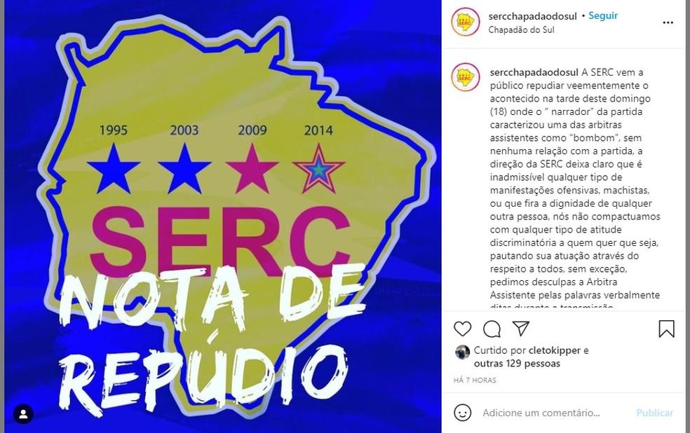 Serc divulgou nota de repúdio em suas redes sociais, após declaração machista de jogador — Foto: Serc Chapadão do Sul/Redes Sociais