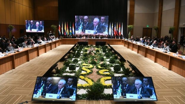 Presidente Michel Temer em cúpula do Mercosul, em junho; afirmações de nome forte do futuro governo causaram apreensão em países vizinhos (Foto: Ministério das Relações Exteriores via BBC News Brasil)