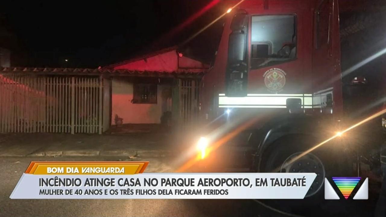 Mãe e bebê ficam feridos após incêndio em casa no Parque Aeroporto em Taubaté