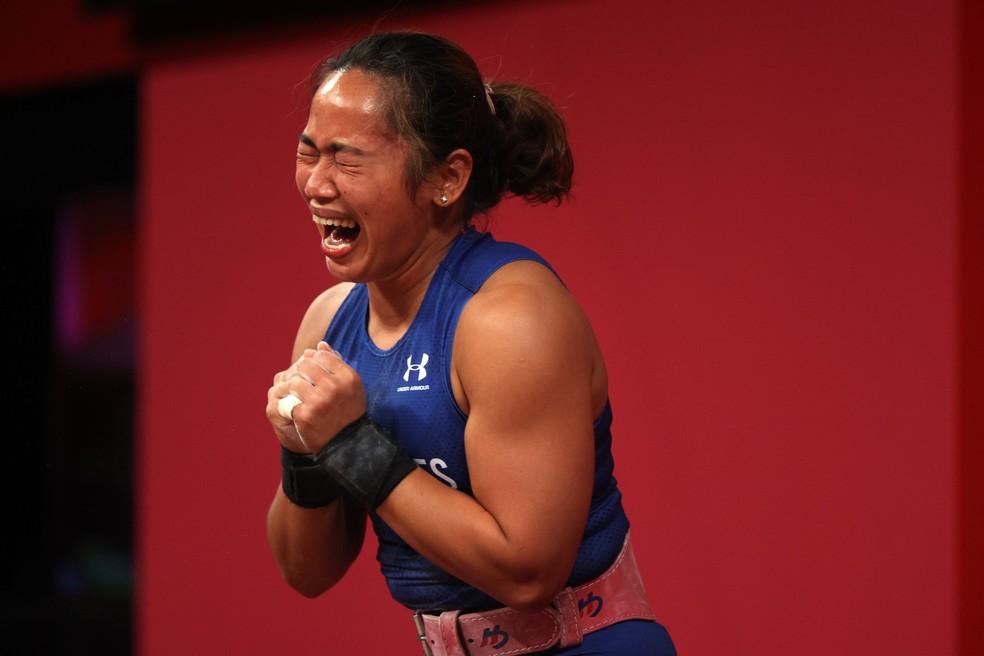 Hidilyn Diaz, das Filipinas, conquista o ouro no levantamento de peso — Foto: Chris Graythen/Getty Images