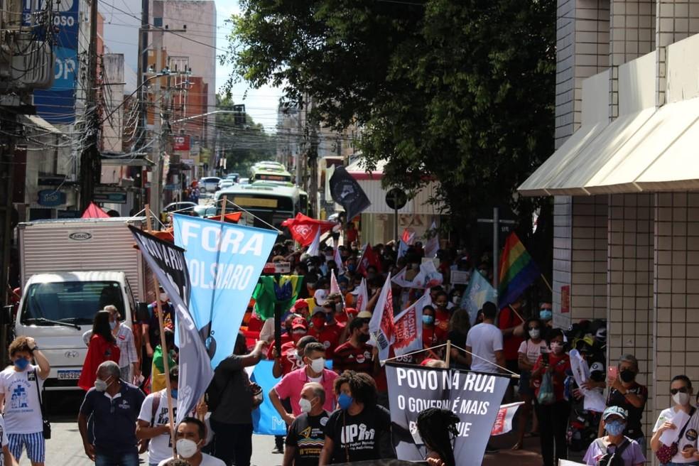 Manifestação contra governo Bolsonaro em Teresina, na manhã deste sábado (19). — Foto: Lívia Ferreira/G1