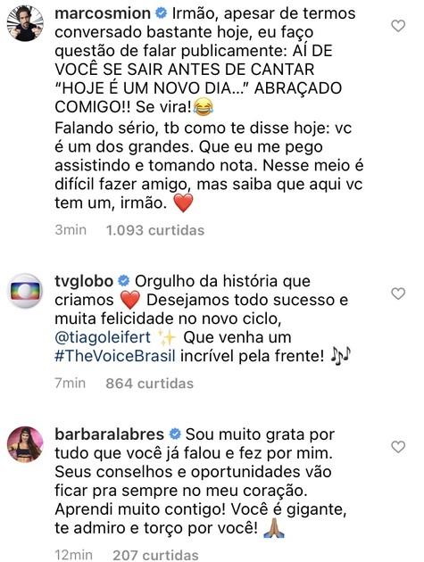Marcos Mion comentou em publicação de Tiago Leifert (Foto: Reprodução)