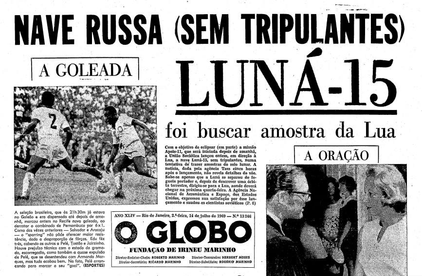 Página do GLOBO de 14 de julho de 1969