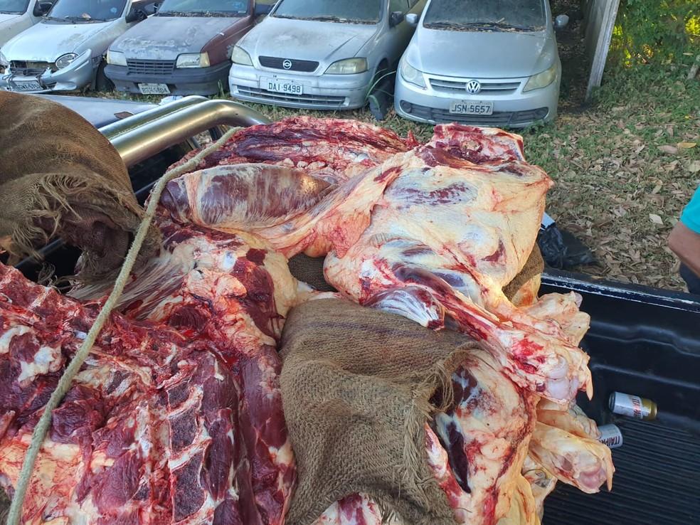 Carne bovina transportada de forma indevida é apreendida na Bahia — Foto: Polícia Rodoviária Federal