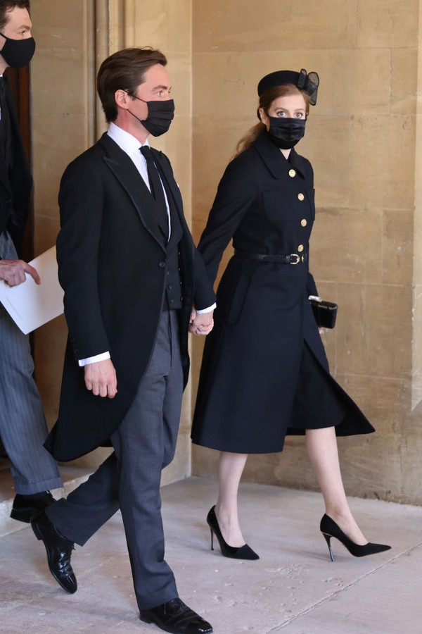 WINDSOR, ENGLAND - APRIL 17: Jack Brooksbank and Princess Eugenie arrive for the funeral of Prince Philip, Duke of Edinburgh at Windsor Castle on April 17, 2021 in Windsor, England. Prince Philip of Greece and Denmark was born 10 June 1921, in Greece. He  (Foto: WPA Pool/Getty Images)