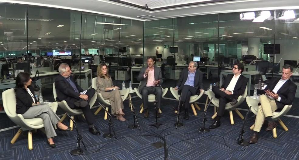 Haddad participou de sabatina organizada por 'O Globo', 'Extra', 'Valor Econômico' e 'Época' — Foto: Reprodução