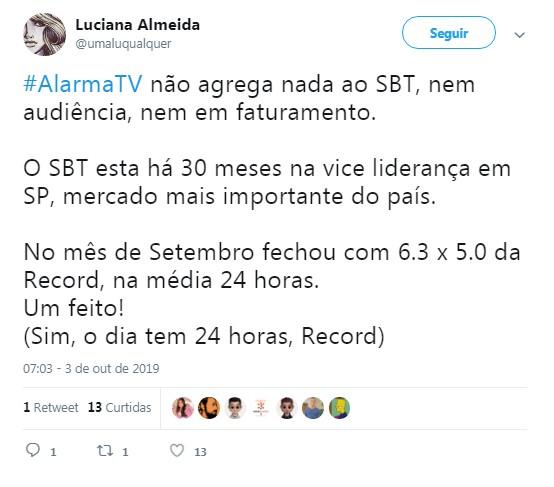 Usuário do Twitter se choca com exibição do 'Alarma TV' pela manhã (Foto: Reprodução / Twitter)